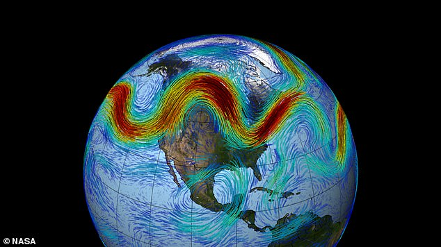 Extreme weather may become more common across Europe and North America by 2060 as climate change shifts the North Atlantic jet stream (depicted), a study has warned