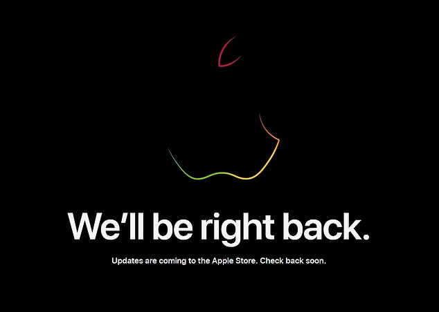 Apple fans visiting the website have been greeted with a temporary message that reads: 'We'll be back now.  Updates are coming to the Apple Store.  check back soon'