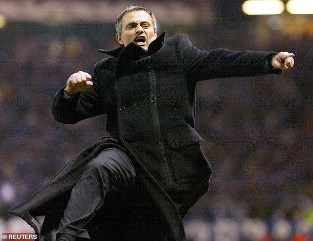Jose Mourinho celebrates his Porto side's last gasp goal against Manchester United in 2004