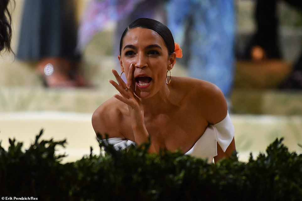 AOC yelling out on the steps of the Met Gala before going inside to mingle with the well-heeled, ultra wealthy guests