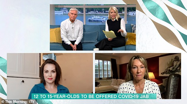 Pros and cons: A live debate between two doctors left Holly admitting 'it makes you think...' whether it's the right move for kids and teens, Chris Whitty said this week was advised that people aged 12 to 15 years should be offered a single dose of Pfizer's jab in the coming days