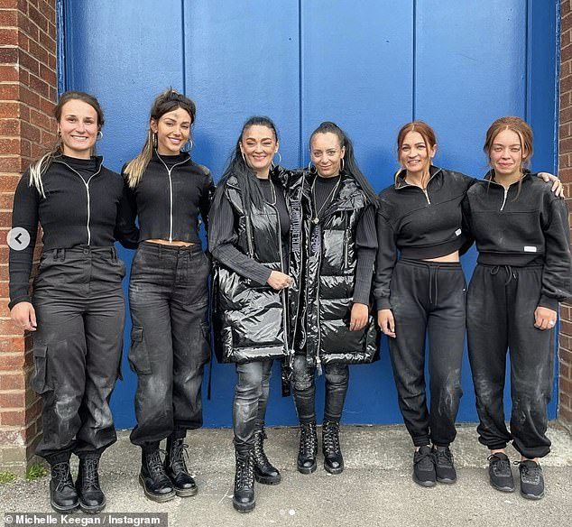 Twinning: Michelle Keegan and her Brassick co-stars snapped a behind-the-scenes photo with their stunt doubles on Monday