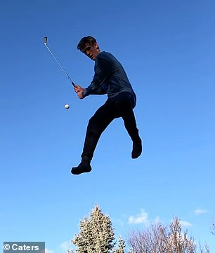 Dylan Chamberlain, 20, from Spokane, Washington, proved golf can be an exciting sport as he effortlessly hit a golf ball through the air while bouncing on a trampoline