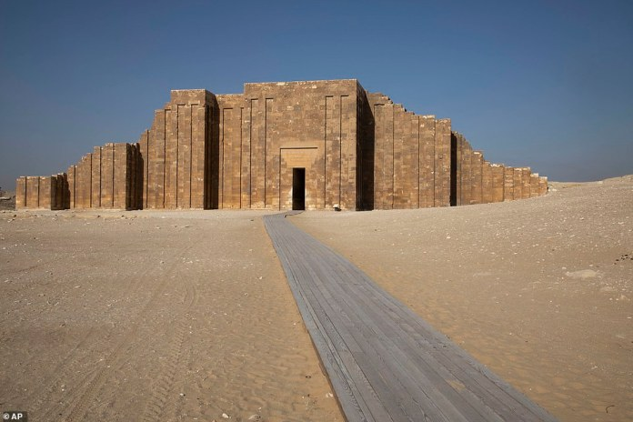 The South Tomb, built between 2667 BC and 2648 BC.  Pictured is a passage leading to the opening of a huge mausoleum