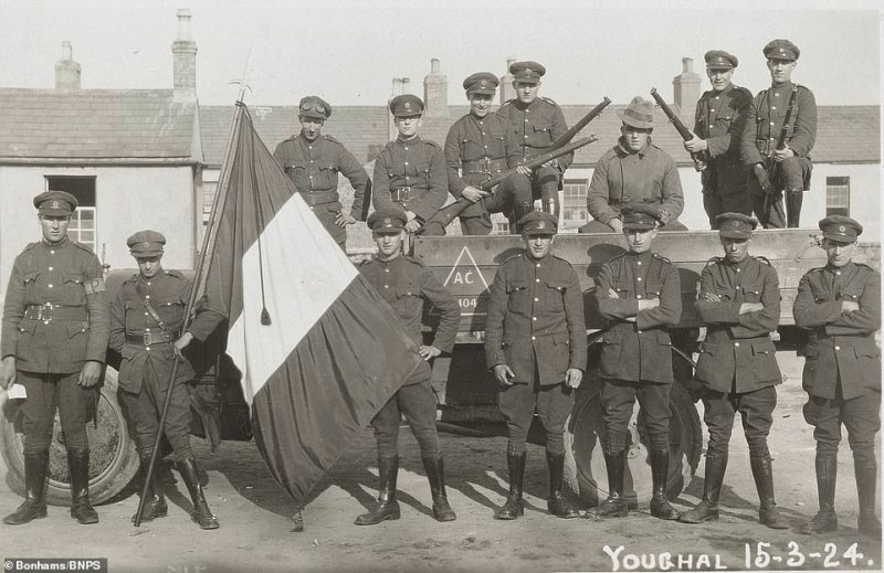 Soldiers pose for a photograph at Youghal barracks, located in the east of County Cork, with this picture dated March 15, 1924