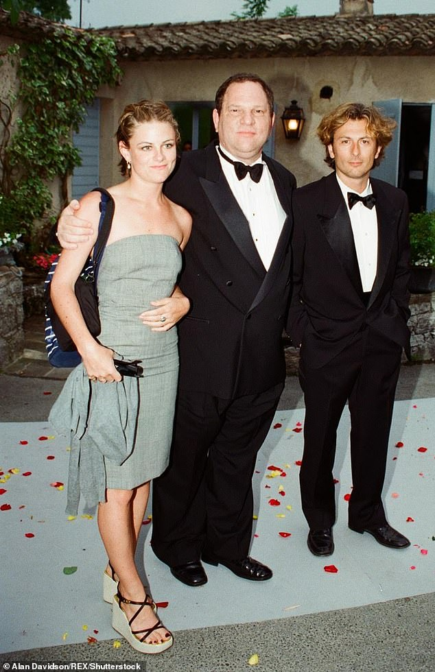 Perkins, left, worked for Weinstein her in her 20s. She had to sign a NDA when she quit her job and sued Miramax for damages with her coworker Rowena Chiu, who claimed Weinstein sexually assaulted her in 1998 (pictured with Weinstein in Cannes in May 1998)