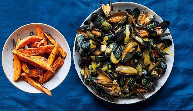 Curried mussels with sweet potato fries: When we visit New Zealand for family holidays, one of my first stops is to buy fresh mussels