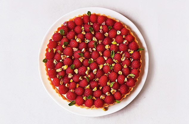 Raspberry & pistachio tart: What's great about this tart is that you can make everything a day or two before and assemble it when it's needed