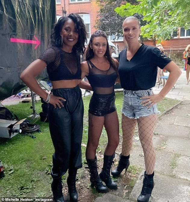 Girl gang: Michelle is back performing with the Liberty X girls and admitted it is the first time she has ever performed sober (pictured last month)