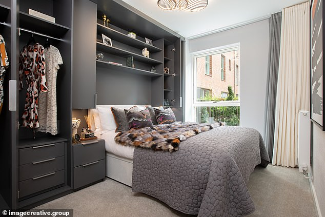 SMRT home bedroom has built-in clothing storage