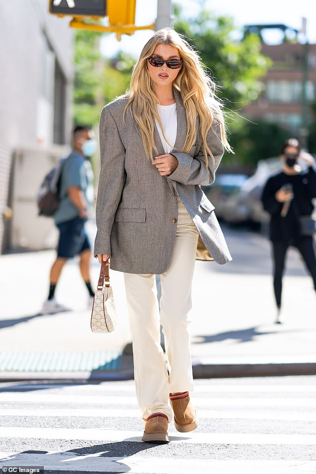Stunning: Elsa was spotted stepping out in SoHo in the Big Apple on Saturday