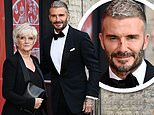 David Beckham sports a mystery scratch on his nose as he joins mum Sandra at Who Cares Wins Awards
