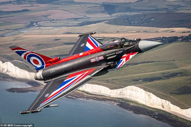 With its delta wings emblazoned with a Union Flag design, it made a spectacular and stirring sight as it evoked the heroics of The Few