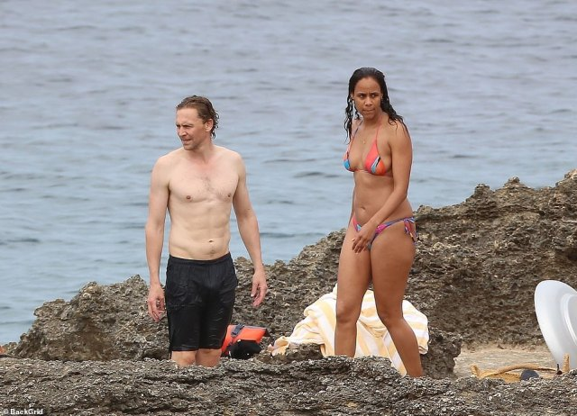 Wow:Putting his muscular physique on display, Tom stripped down to a pair of black swimming trunks. Meanwhile, Zawe put her phenomenal display as she slipped into a multicoloured string bikini