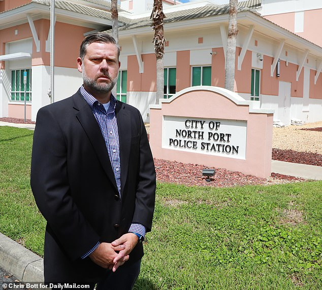 North Port information officer Josh Taylor, pictured, told DailyMail.com Tuesday that Laundrie is not a person of interest but is being sought for questioning in hopes he could provide cops with information that would lead them to Gabby's whereabouts