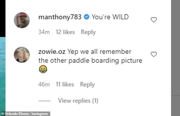 'Yep we all remember the other paddle boarding picture,' Instagram user @zowie.oz reminded the room