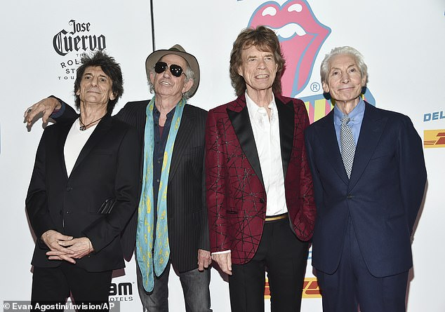 Tribute:The Rolling Stones will reportedly alter their world famous logo on their upcoming tour in tribute to their late bandmate Charlie Watts (L-R,Ronnie Wood, Keith Richards, Mick Jagger and Charlie Watts in 2016)