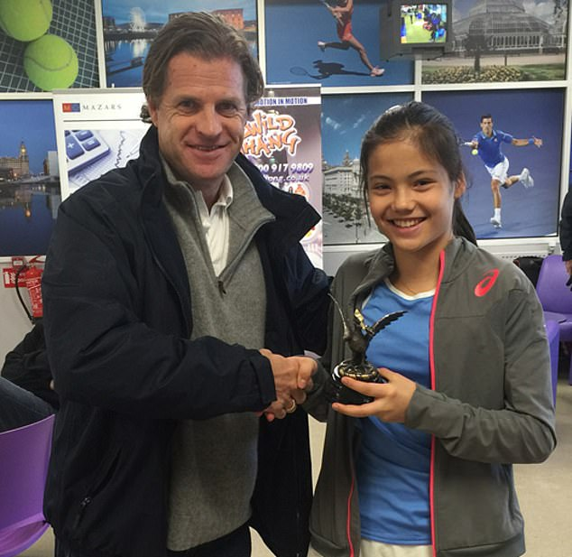 Emma Raducanu, then aged 12, withAnders Borg following her success in 2015