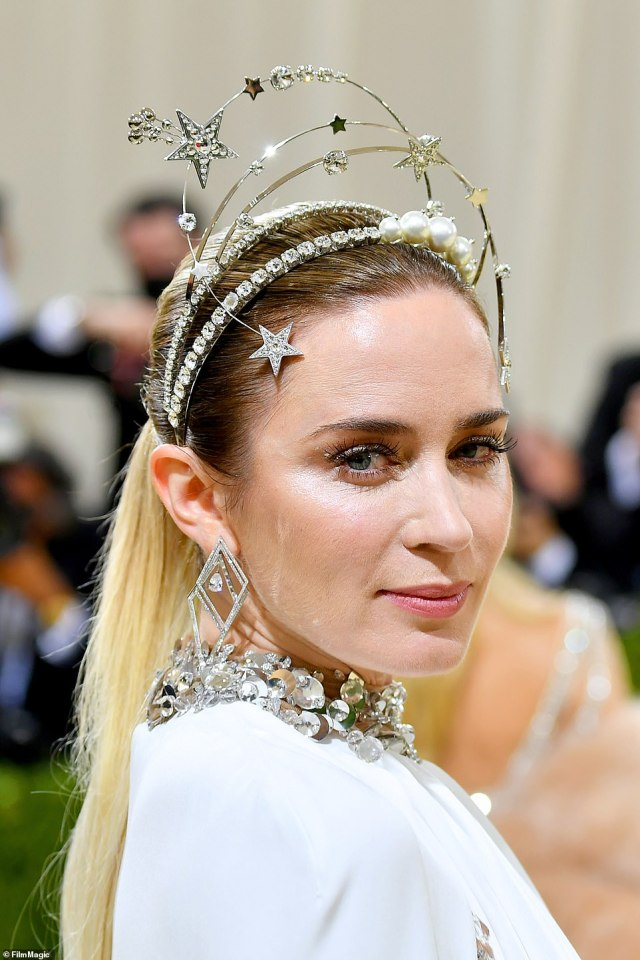 Emily Blunt's look included a headpiece that took inspiration from the Statue of Liberty and a classic Heddy Lamarr costume from Ziegfeld Girl
