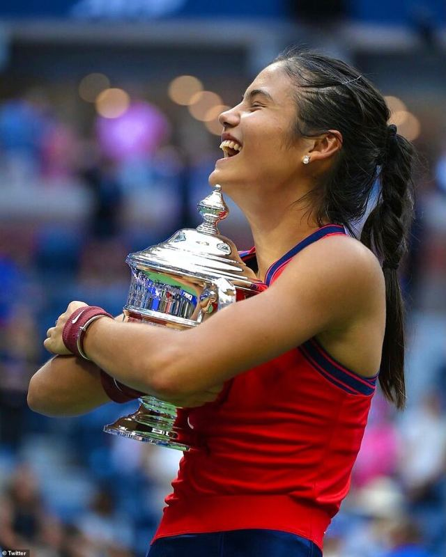Miss Raducanu has been hailed by Liverpool manager Juergen Klopp as 'the talent of the century' following her US Open win on Saturday