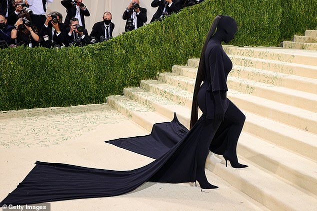 Iconic:Others begged Celeste to recreate Kim Kardashian's iconic silhouette outfit from this year's event, with one writing: 'Please do one of Kim at this years!'
