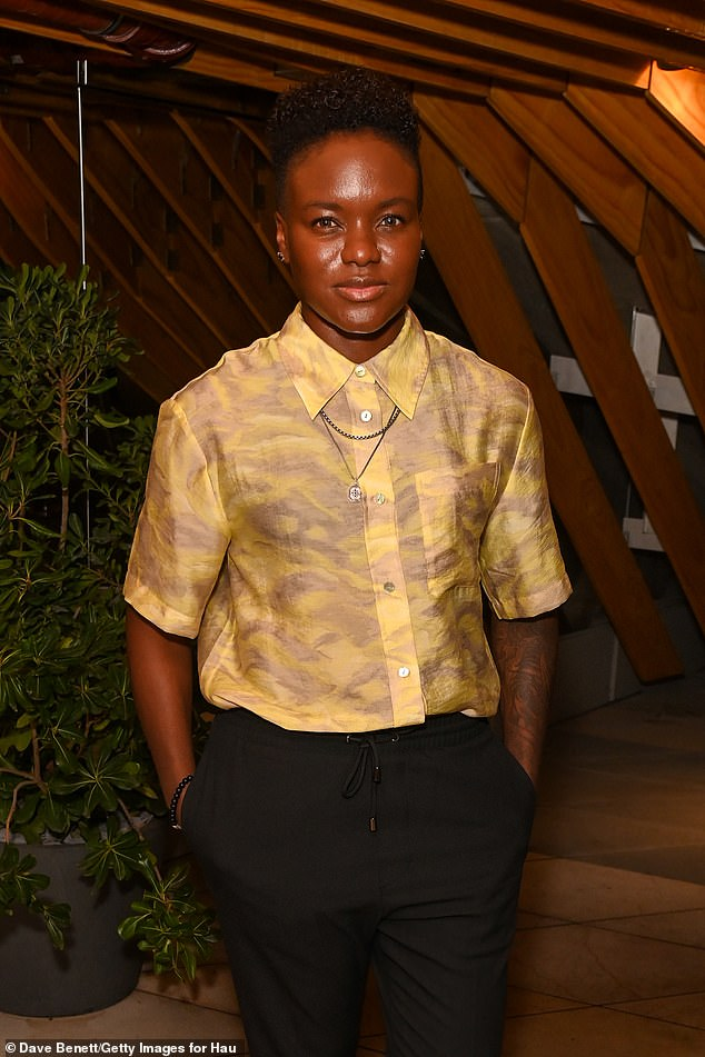 Chic: Olympic boxing star Nicola rocked a chic chop in a yellow patterned shirt and black joggers at the recently-launched Haugen venue