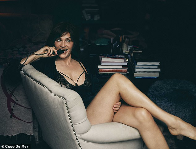 Glamour:Biting cheekily on the clicker, Helena crossed her legs as she glanced off-camera