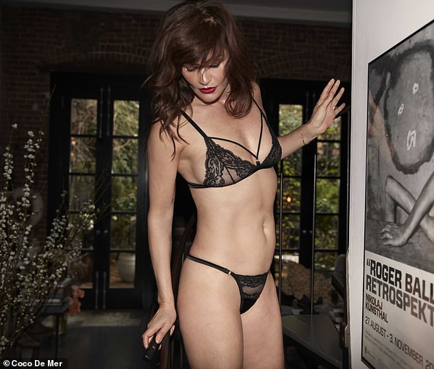 Wow: Helena Christensen set pulses racing as she posed for a series of sizzling lingerie snaps for luxury brand Coco de Mer's Icons campaign