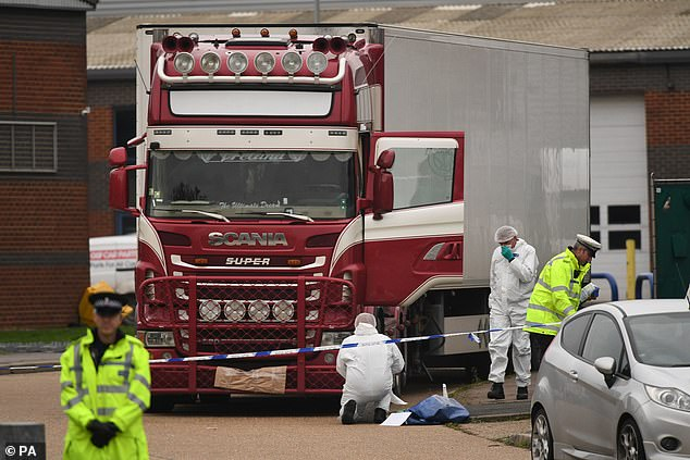 Ms Patel was previously criticised over what was described as an 'ill-advised' Tweet about the deaths of 39 Vietnamese migrants in a lorry in Essex (pictured: Police at the scene) while the trial was on going