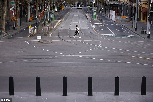 A nearly deserted Bourke Street in Melbourne's CBD on Sunday, as Covid case numbers continue to rise