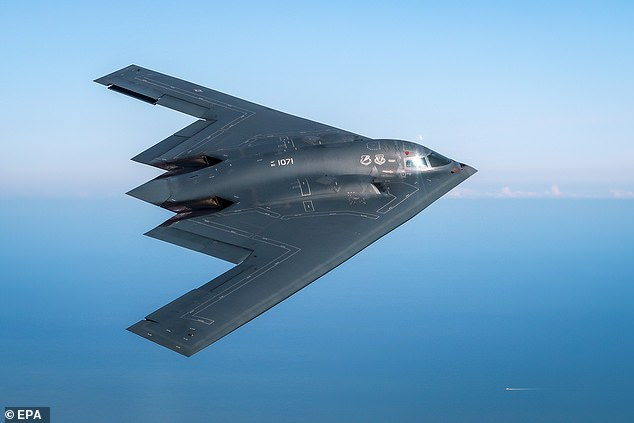 A B2 Spirit stealth bomber was damaged after an emergency landing at Whiteman Air Force Base in Missouri today (File picture)