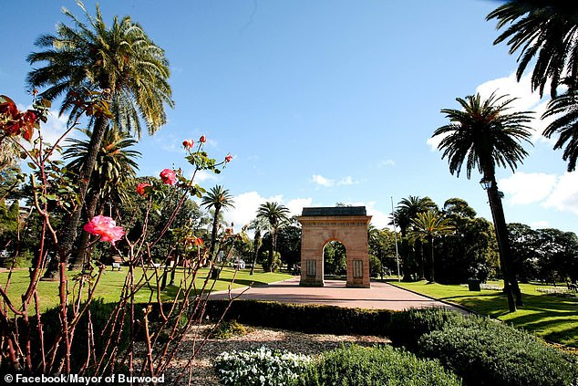 Burwood council has 41 active cases, a level lower than many beachside suburbs, but despite that, residents are still subjected to a 9pm to 5am curfew and a 5km limit on leaving home for exercise (pictured is the main park at Burwood)