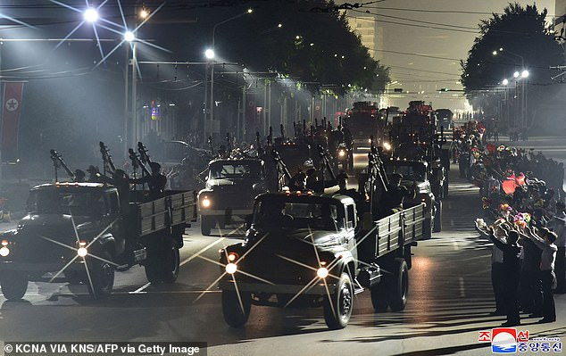 North Korean media said the message was received on September 7, two days before the communist state celebrated the 73rd anniversary of its founding. Above: The night-time military parade which marked the day