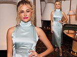 Pixie Lott is the belle of the ball in a silk Cinderella-blue frock for high-fashion brand launch