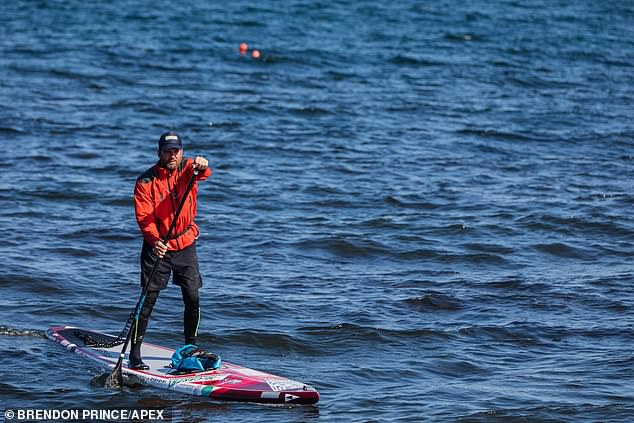 Brendon Prince, 48, arrived back in Torquay after he completed the 3,800-mile expedition on a stand-up board