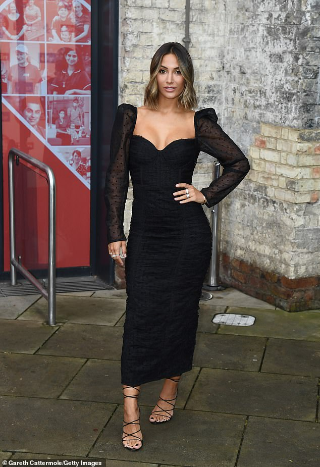 Wow!  Frankie Bridge, 32, looked amazing as she donned a bodycon black midi dress for the Who Cares Wins Awards in London on Tuesday
