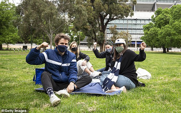 It is the second successive year the AFL grand final will be played away from the iconic MCG, with Richmond winning the flag in Brisbane last year (pictured, Geelong supporters before the big dance in 2020)