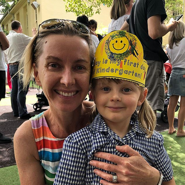 Hunkered down together: Last month, Deborah isolated with her daughter Audrey (pictured) in the granny flat of their home and hosted her drive time radio show on 2GB from there.'A five-year-old can't isolate on her own, a grown-up's got to do it with her,' she told her listeners