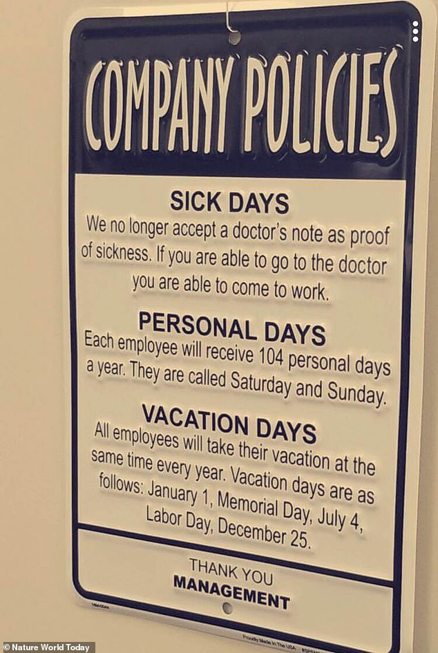 This US-based management sign directed at employees is not only unfair but illegal - companies cannot dictate the holiday days an employee takes