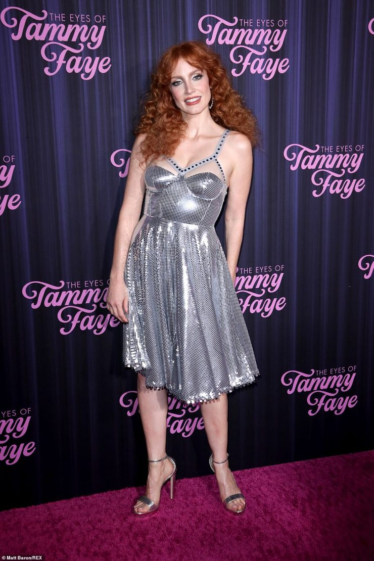Disco diva:Jessica strutted her stuff down the red carpet in a glitzy mirrored dress and a pair of sky-high heels