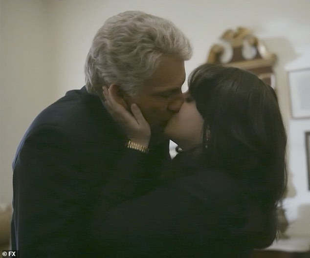 First kiss:Monica Lewinsky (Beanie Feldstein) and Bill Clinton (Clive Owen) shared their first kiss in the second episode of Impeachment: American Crime Story