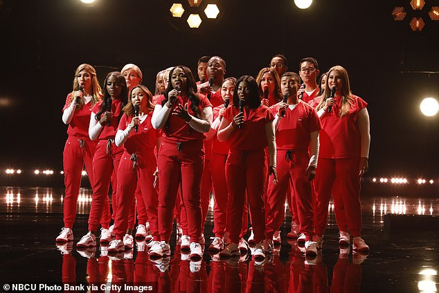 Last act:The last act of the night was Howie's Golden Buzzer pick Northwell Health Nurse Choir who took the stage wearing red scrubs and sang a cover of 'Stand By You'