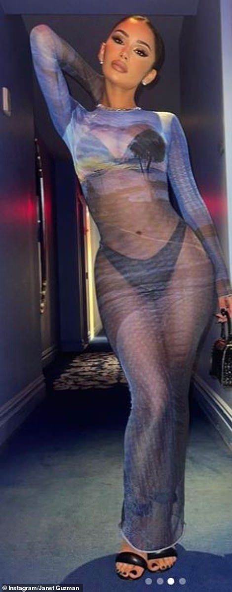 That looks familiar: She was seen modelling the same sheer outfit on Instagram earlier that night