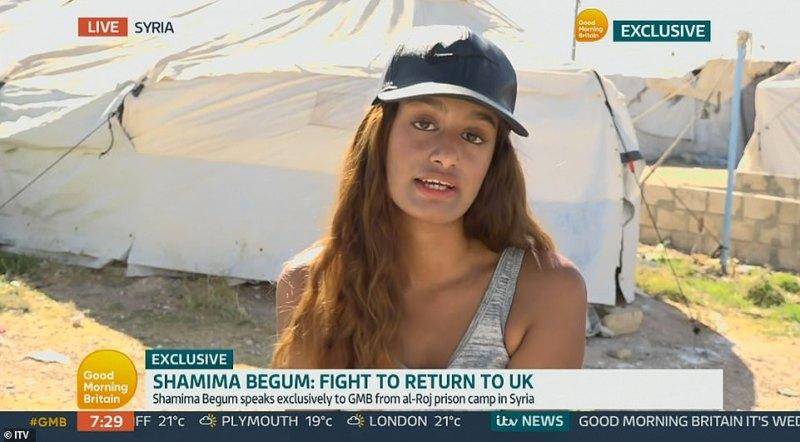 Shamima Begum, the east London schoolgirl who fled her home in 2015 to join the so-called Islamic State terror group in Syria, has asked the British people for forgiveness and said:'The only crime I think I committed was being dumb enough to come to ISIS'
