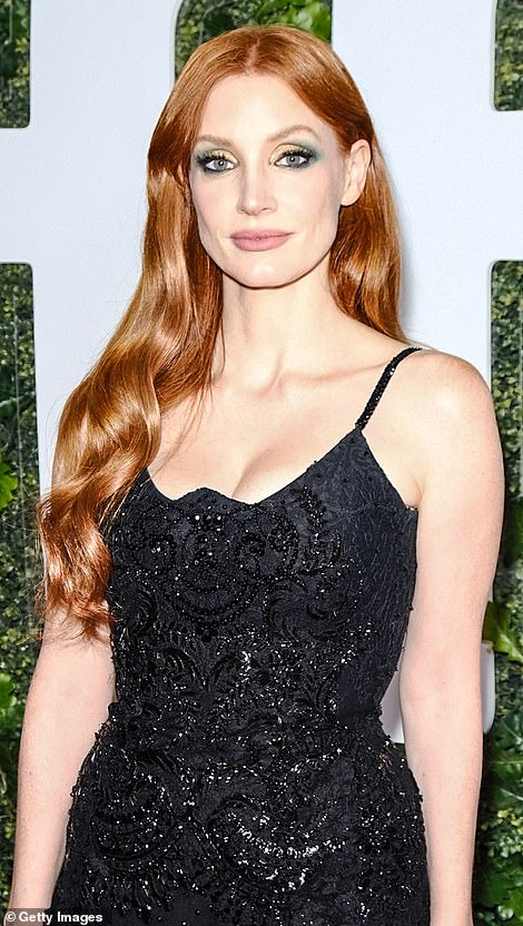 Chameleon: Jessica Chastain ditched her signature straight strands for a curly mane as she attended the star-studded premiere of The Eyes of Tammy Faye in New York; Jessica pictured on September 11