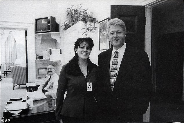 Real life: An official White House photo taken on November 17, 1995 featuring Bill Clinton and Monica Lewinsky (file photo)