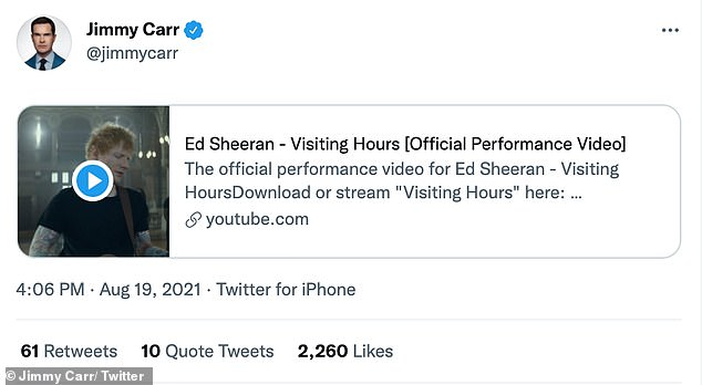 Jimmy has yet to comment on his involvement with Ed's album, but posted the Visiting Hours video on Twitter last month without any captions.