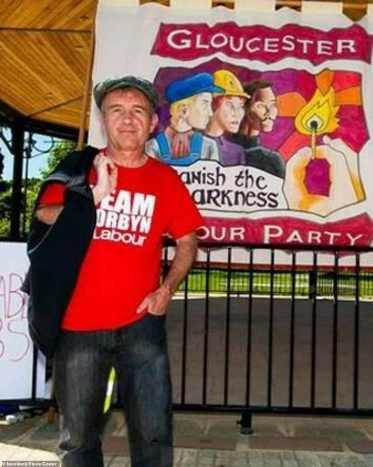 Steve Gower, 54, pictured in a 'Team Corbyn' T-shirt from Gloucester, is one of the ringleaders of yesterday's protests