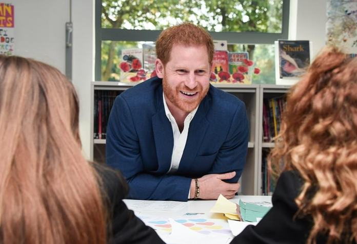 The royal family shared a photo of Harry's visit to a school in Nottingham in 2019 as a distant day to meet young people in community projects aimed at improving mental well-being.