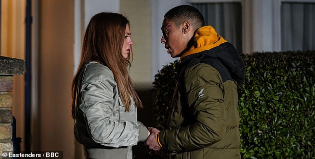 On-screen lovers:They take on the role of husband-and-wife on EastEnders (pictured in character)